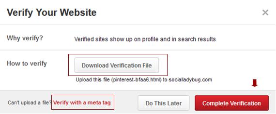 Pinterest-website-verification