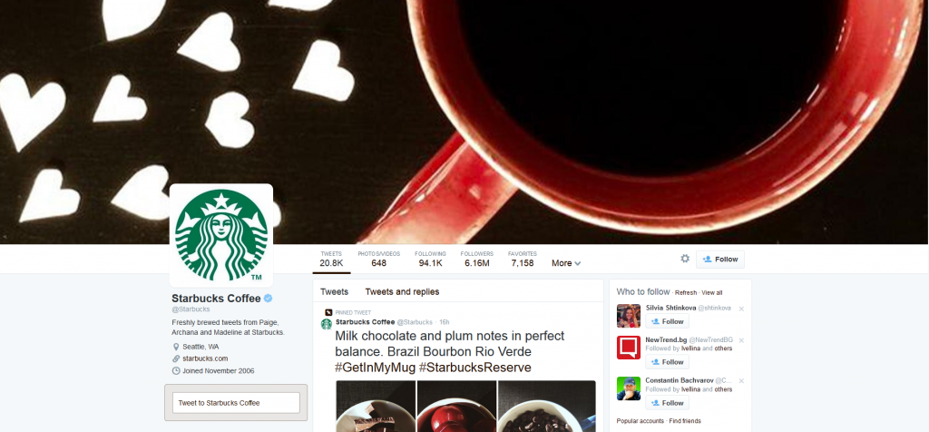 Starbucks new profile on Twitter