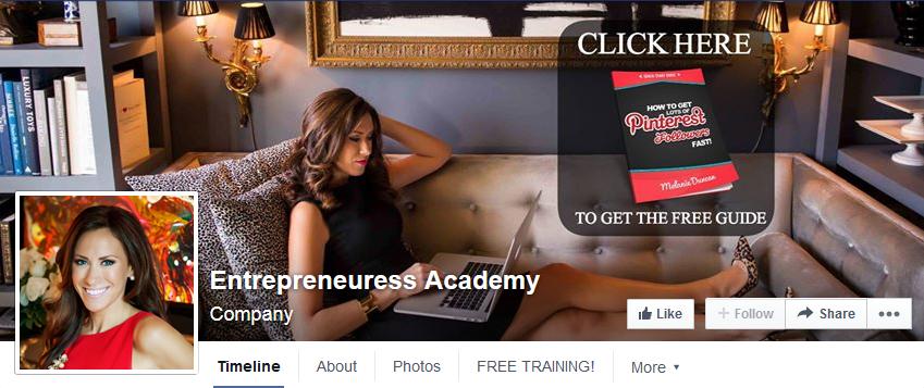 Entrepreneuress Academy Facebook cover photo with go to action