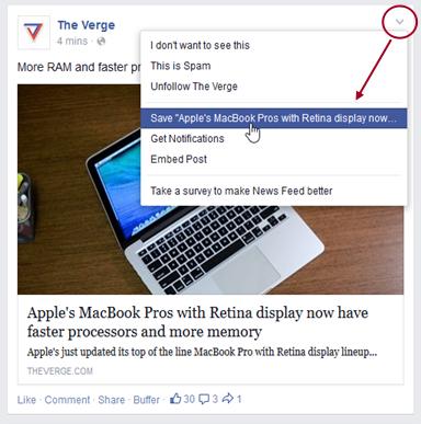Стъпка 1 как да използвам Save опцията във Facebook