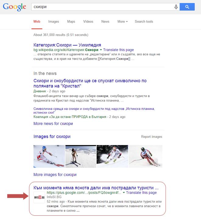 Показване на пост от G+ в Google Search Result